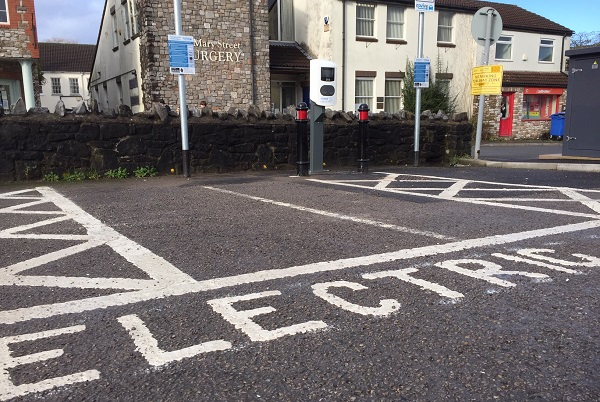 Electric vehicles can plug in at car park